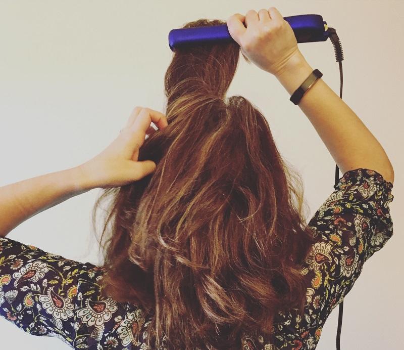 straightening hair with straightener