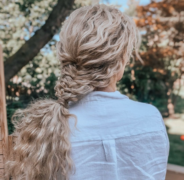 braided style for curly hair