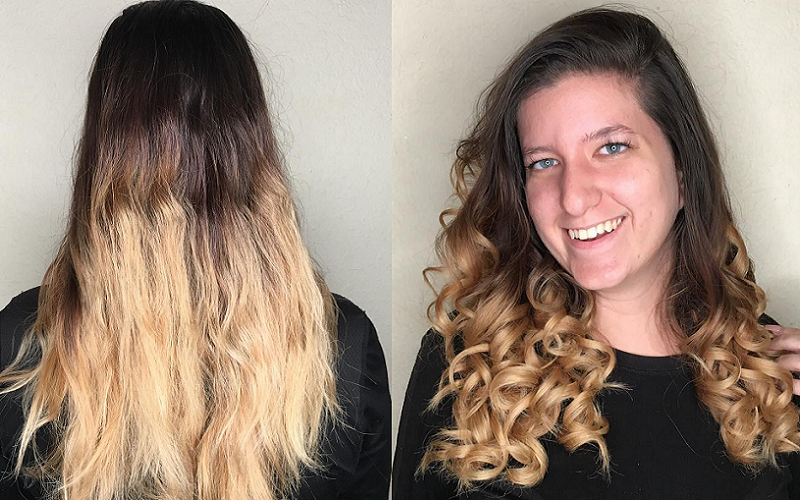 long hairstyle with curling iron