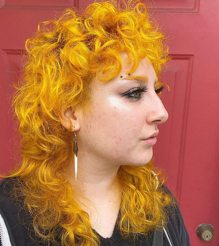 thick curly mullet haircut